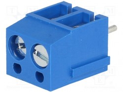 Terminal block; 5mm; angled 90°; 2.5mm2; ways:2; tinned; 24A; blue