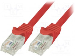 Patch cord; U/UTP; 6; stranded; CCA; PVC; red; 0.25m; 24AWG