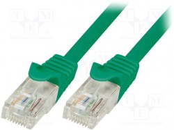 Patch cord; U/UTP; 6; stranded; CCA; PVC; green; 1m; 24AWG