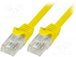 Patch cord; U/UTP; 6; stranded; CCA; PVC; yellow; 0.25m; 24AWG