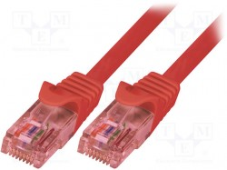 Patch cord; U/UTP; 6; stranded; Cu; LSZH; red; 5m; 24AWG