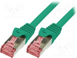 Patch cord; S/FTP; 6; stranded; Cu; LSZH; green; 5m; 27AWG