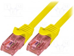 Patch cord; U/UTP; 6; stranded; Cu; LSZH; yellow; 0.25m; 24AWG