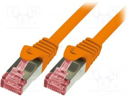 Patch cord; S/FTP; 6; stranded; Cu; LSZH; orange; 1m; 27AWG