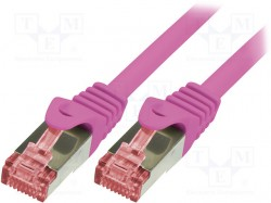 Patch cord; S/FTP; 6; stranded; Cu; LSZH; pink; 0.5m; 27AWG