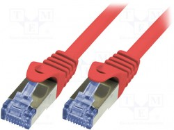 Patch cord; S/FTP; 6a; stranded; Cu; LSZH; red; 0.25m; 26AWG