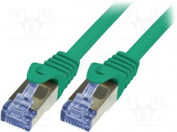 Patch cord; S/FTP; 6a; stranded; Cu; LSZH; green; 1m; 26AWG
