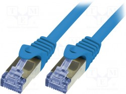 Patch cord; S/FTP; 6a; stranded; Cu; LSZH; blue; 1m; 26AWG