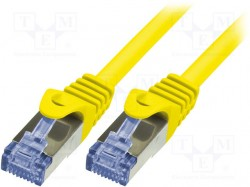 Patch cord; S/FTP; 6a; stranded; Cu; LSZH; yellow; 0.25m; 26AWG