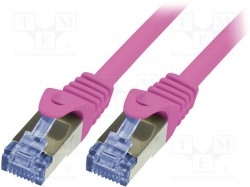 Patch cord; S/FTP; 6a; stranded; Cu; LSZH; pink; 0.25m; 26AWG