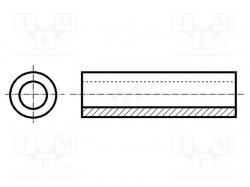 Spacer sleeve; cylindrical; polyamide; L: 7mm; Øout: 5mm; -30÷85°C