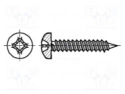 Screw; 3,9x9,5; Head: cheese head; Phillips; steel; zinc; Size: PH2