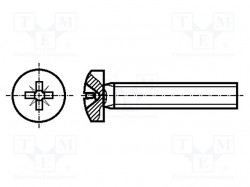 Screw; M3x30; DIN:7985A; Head: cheese head; Pozidriv; steel; zinc