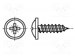 Screw; 2,9x13; Head: button; Pozidriv; steel; zinc; Size: PZ1