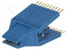 Test clip; SOIC; PIN:20; blue; gold plated