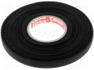 Fabric tape; PET wool; 9mm; L:25m; black