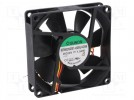Fan: DC; axial; 24VDC; 80x80x20mm; 61.16m3/h; 38dBA; slide bearing