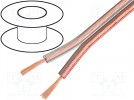 Cable: loudspeaker cable; 2x0,35mm2; stranded; Cu; transparent